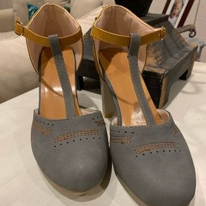 Grey and camel Mary Janes